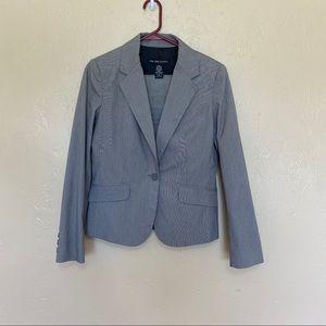New York & Company Gray Pinstripe Skirt Suit